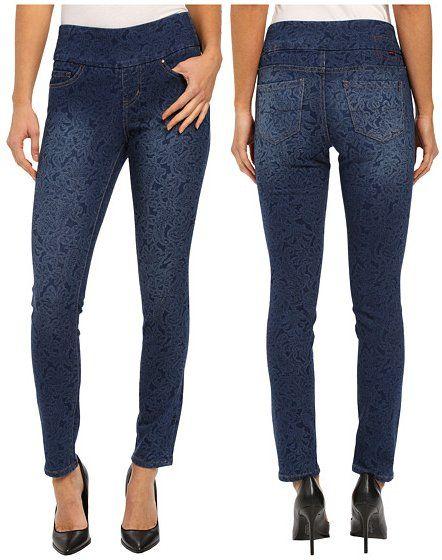 Jag Jeans Lanna Pull-On Slim Patterned Denim in Paisley Indigo