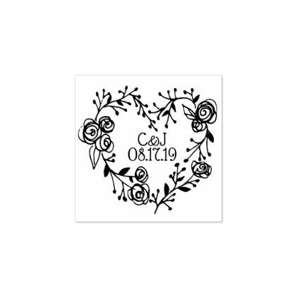 Twigs Berries and Roses Heart Wreath   Wedding Rubber Stamp - rose style gifts diy customize special roses flowers