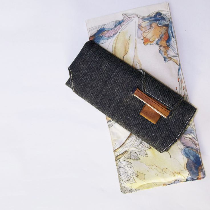 CULT OF ONE pencil sheath, cone mill selvedge denim, leather trim and carvel printed carry bag.