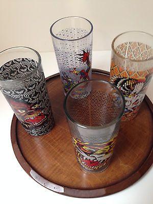 SET-OF-4-DON-ED-HARDY-14OZ-HIBALL-GLASSES-WITH-VINTAGE-WOOD-TRAY