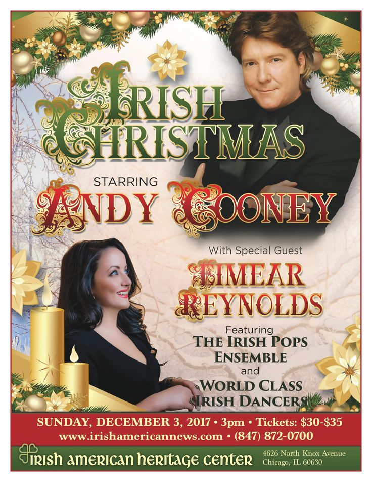The Spirit of Ireland and Christmas comes alive as Andy Cooney gathers the finest musicians, dancers and performers to celebrate the most wonderful time of year in the Irish tradition.    Andy Cooney, with seven Carnegie Hall sellouts under his belt, has recorded 19 albums to date, including Bright Brand New Day with Phil Coulter and his
