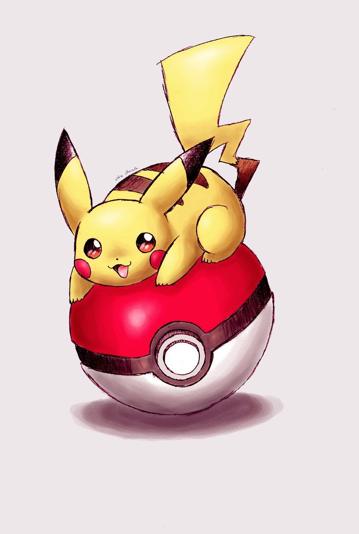 Pikachu on a pokeball by shiroiwolf on DeviantArt
