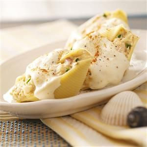 Creamy Seafood-Stuffed Shells Recipe from Taste of Home