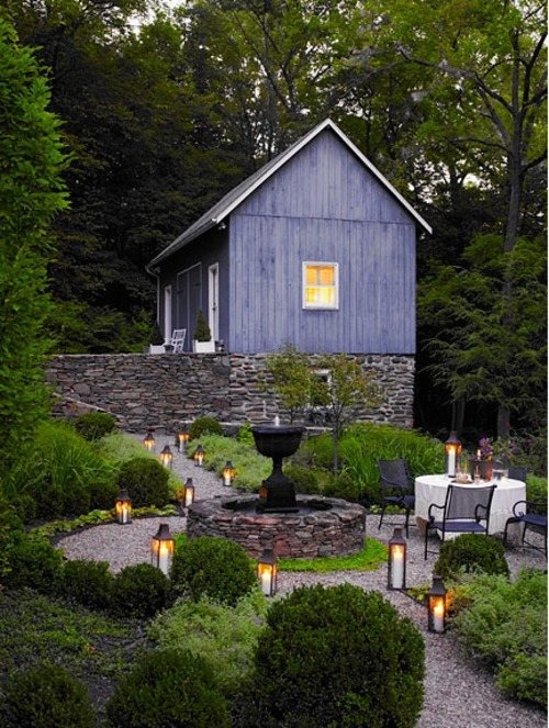 lovely garden spot to spend an evening with lanterns lighted and table set