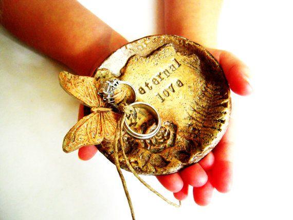 Ring Bearer Bowl Dish Pillow Alternative Butterfly Wedding Ring Holder Ring Plate Rustic Vintage Wedding Unique Custom. $32.00, via Etsy.  Keywords: #butterflyweddings #jevelweddingplanning Follow Us: www.jevelweddingplanning.com  www.facebook.com/jevelweddingplanning/
