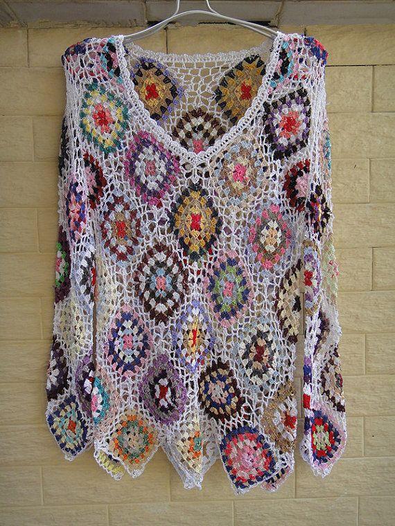 Womens Crochet Jumpers Diamond Blouse Top by Tinacrochetstudio