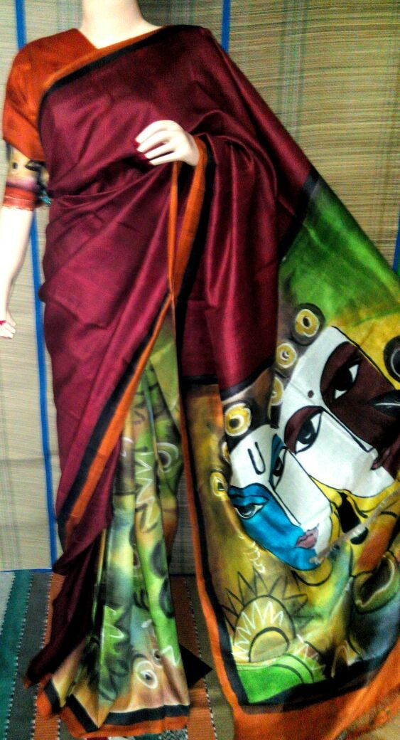 hand painted pure silk saree with blouse