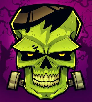 How to Draw a Frankenstein Skull, Step by Step, Frankenstein, Monsters, FREE Online Drawing Tutorial, Added by Dawn, October 5, 2012, 8:41:57 pm
