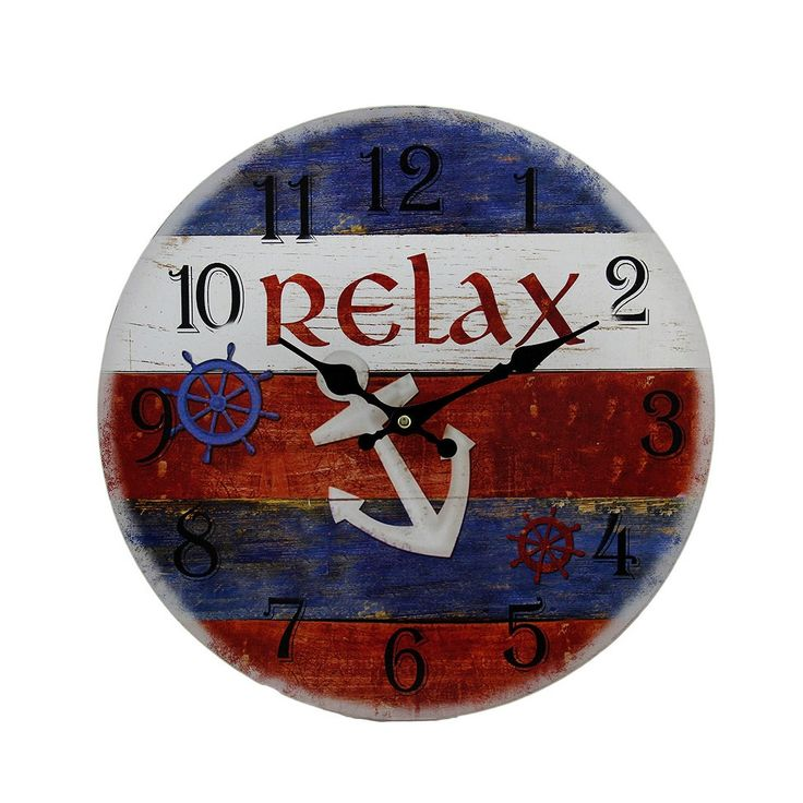 Time to Relax Red White and Blue Striped Nautical Anchor Wall Clock 13 Inch, Multi (Wood)