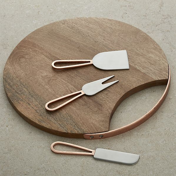 Beck Cheese Board and 3 Copper Cheese Knives Set    Crate and Barrel