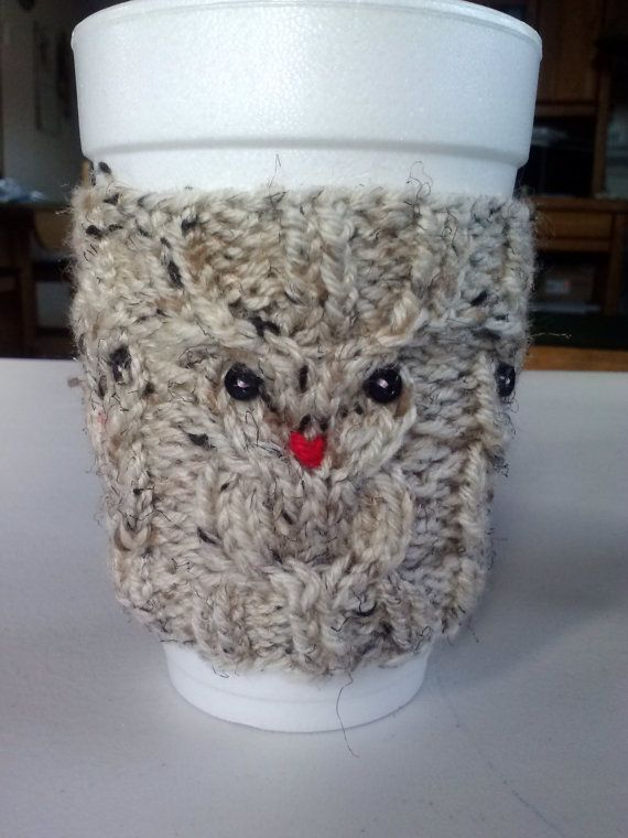 This cozy has owls all around. Fun and stylish way to keep your hands warm or cool. Depending on the drink.