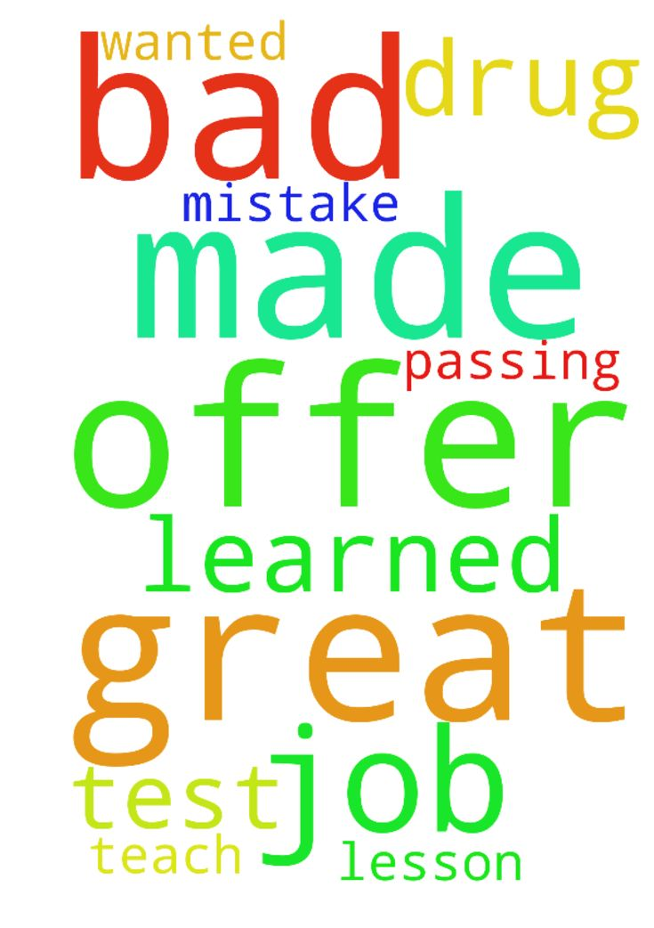 I have a great job offer and made a bad - I have a great job offer - job offer