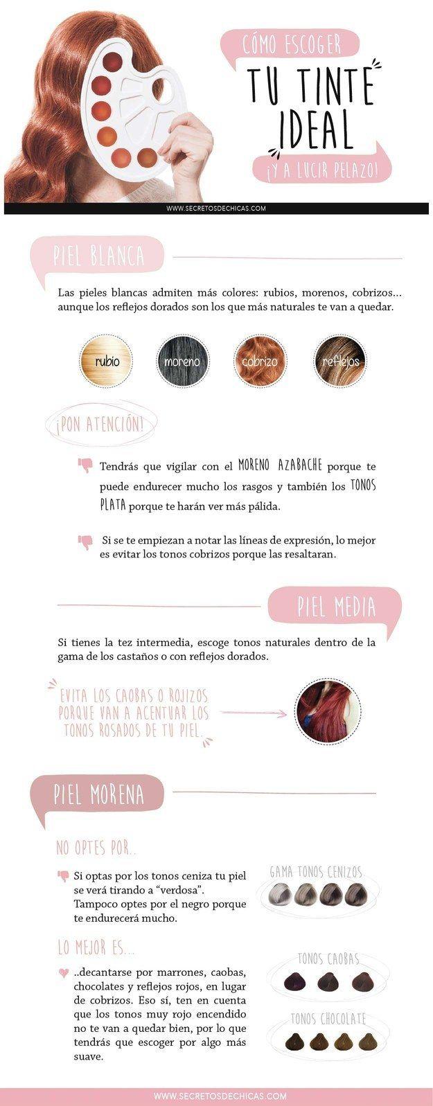 Y aquí hay una guía para encontrar tu tinte ideal. | 21 Guías visuales que harán que tu cabello se vea sensacional todos los días
