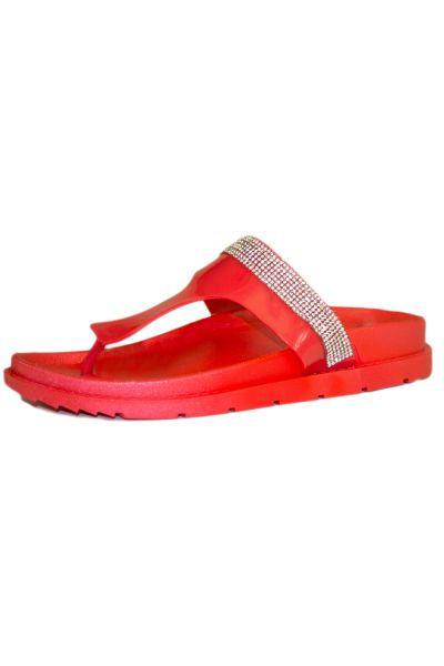 Red Rhinestone Jelly Birkenstock Thong Sandals