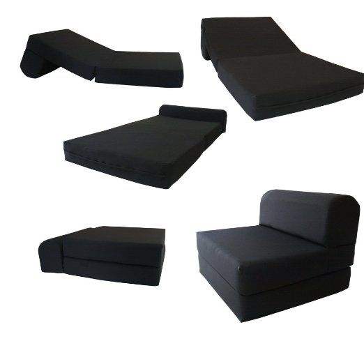 "Black Sleeper Chair Folding Foam Bed Sized 6"" Thick X 32"" Wide X 70"