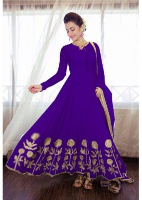 Party Wear Purple Georgette Anarkali Suit - TrishaG49