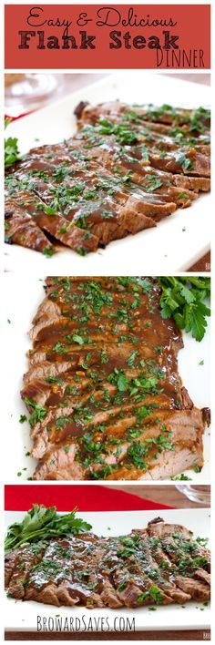 Easy weeknight Marinated Flank Steak Dinner. Takes less than 8 minutes to cook served with a delicious sauce.