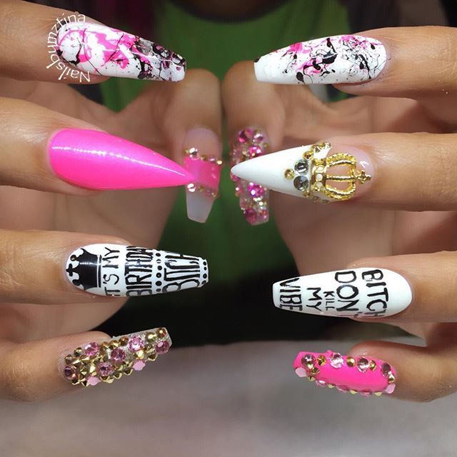 Instagram media nailsbymztina - Birthday nails for the lovely @thatsbutta