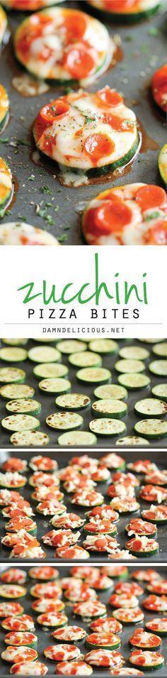 Zucchini Pizza Bites - ソーセージにコショウを擦り込んで短冊状に切ったチーズにピザソースを加え、短冊状に切ったチーズを輪切りにしたズッキーニに乗せオリーブ油で焼く。20分でできるよ。#GF #お腹ペコリン部