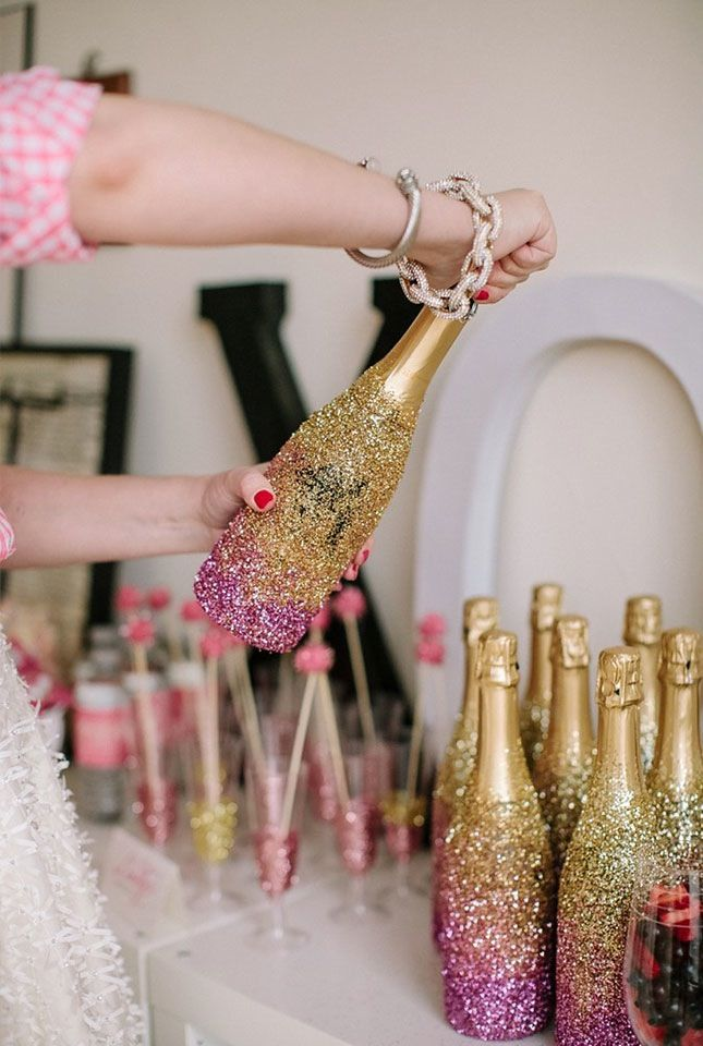 DIY Glitter Champagne Bottles. Pop some (glitter) bottles on your B-Day with this DIY. Great idea for a 30th birthday party.