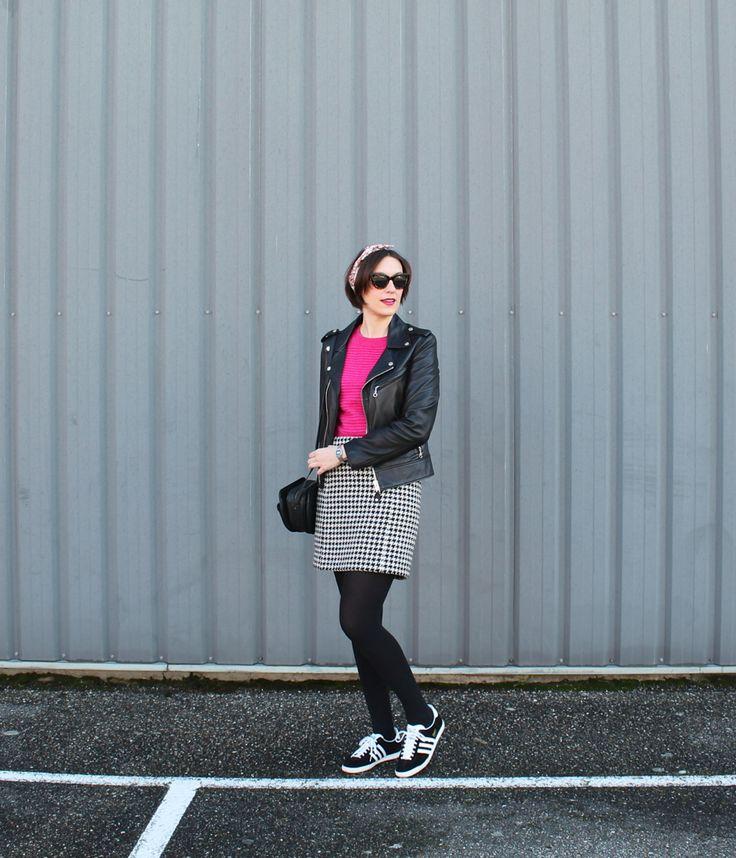 houndstooth skirt + adidas gazelle + schott perfecto