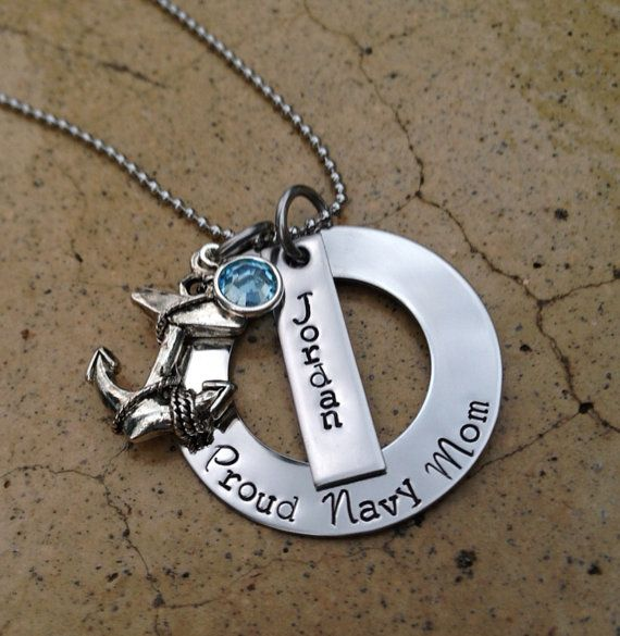 Hand Stamped Necklace Proud Navy Mom by ChicMommaCreations.  I want one of these with both my Son's names!!