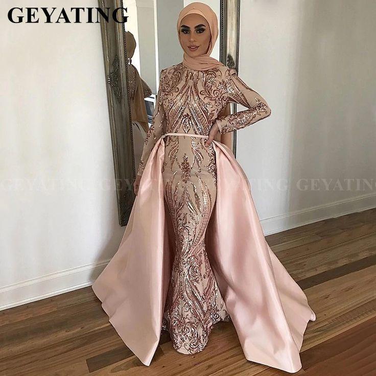 139 2us 20 Off Saudi Arabia Long Sleeves Mermaid Muslim Evening Dress With Detachable Train Rose Gold Sequin Kaftan Dubai Prom Formal Dresses Evening Dresses Royal Blue Bridesmaid Dresses Maternity Bridesmaid Dresses Bridesmaid