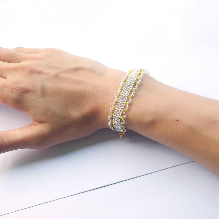 Dainty White and Gold Bracelet, Peyote Beading, Bridal Bracelet, Wedding Jewelry, Transparent Glass Golden Metallic Seed Beads, Gift For Her by LakeviewNeedlework on Etsy