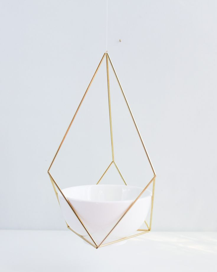 Himmeli fig. 4 - Hanging Brass Air Plant Holder with Cup | Modern Minimalist…