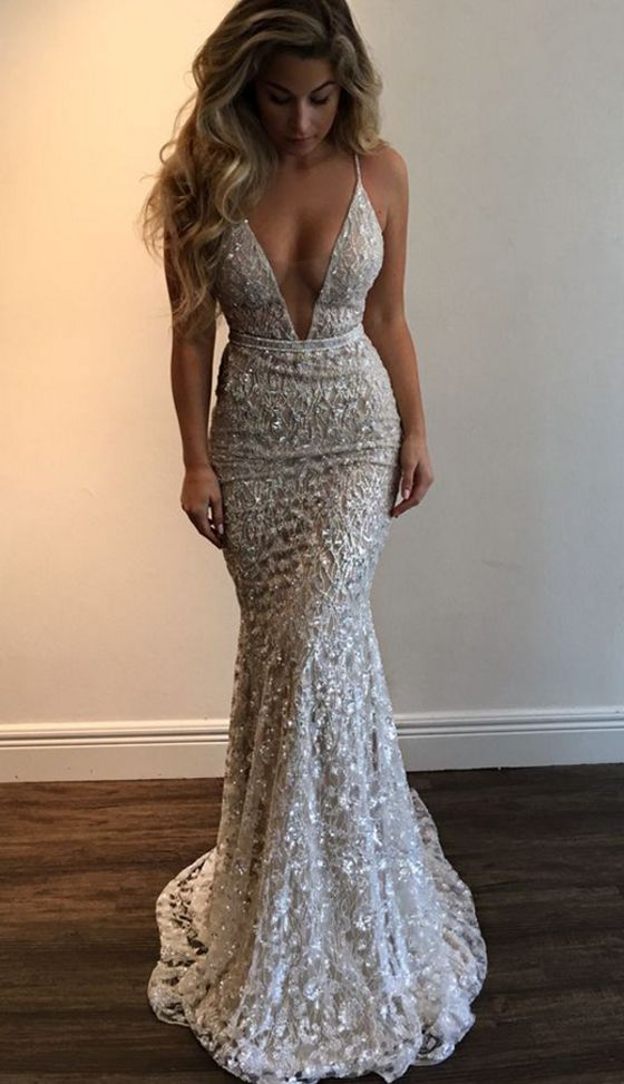 Gorgeous Prom Dress,Prom Dresses,Straps Prom Gown,Deep V-neck Prom