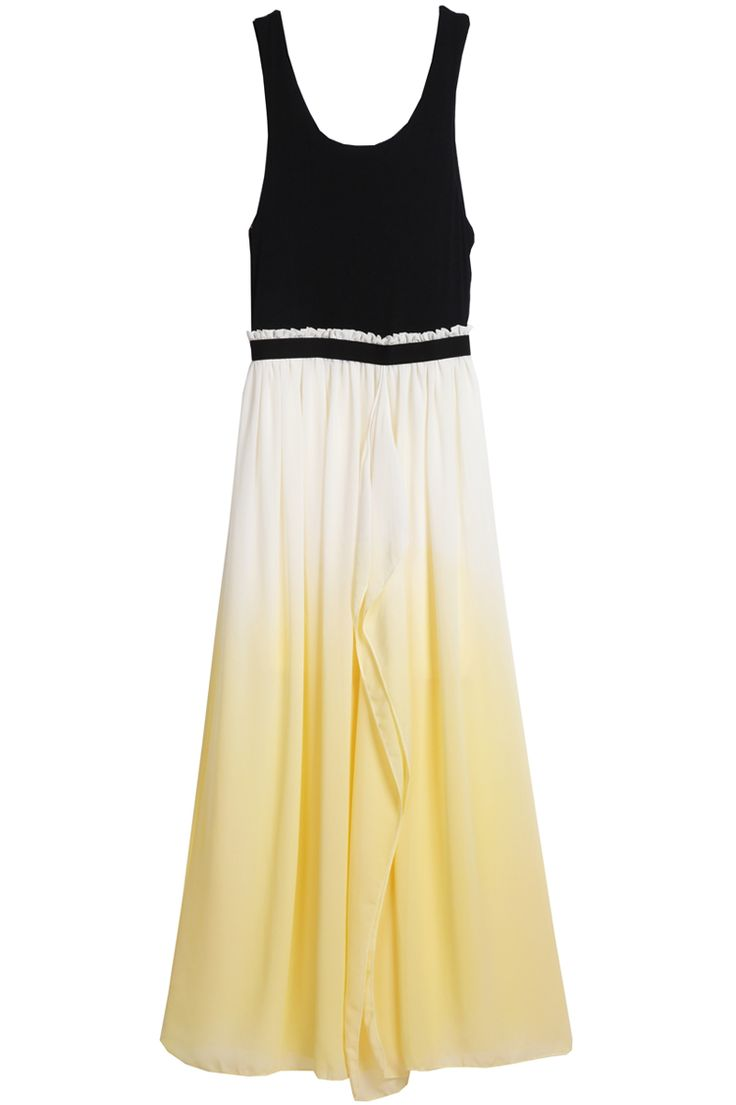 Yellow Sleeveless Spaghetti Strap Pleated Chiffon Dress for Mom... Rehearsal dinner???$23.77