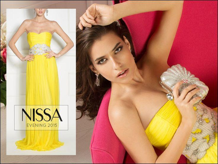 NISSA Evening 2015 www.nissa.com  #nissa #evening #ss2015 #new #collection #silk #yellow #glam #maxi #fashion #style #look
