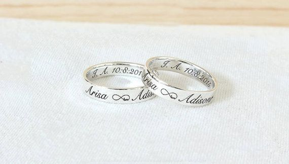 Stack Ring  Custom Engraved Ring Sterling Silver by JewelryGhouse