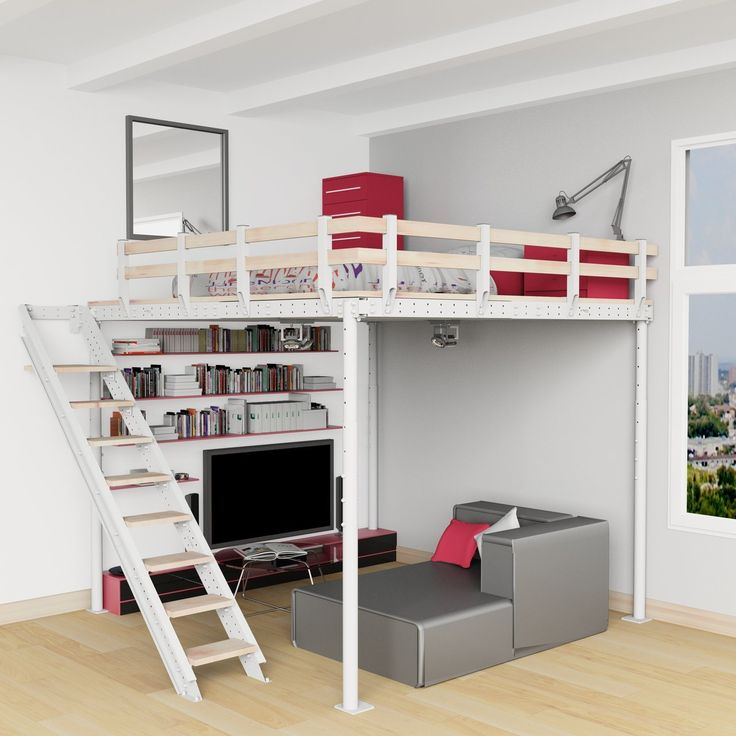 The DIY Loft Bed Kit is your go to loft that you can build yourself. You can see this set up utilizes the space below the bed for a lounge area while the creating a separate room above for sleeping. Everyone could use a bit of extra room and if you have the ceiling height for a mezzanine you will benefit the factors of freed up room. This unit sets up quickly and easily with two people in just 4 hours!