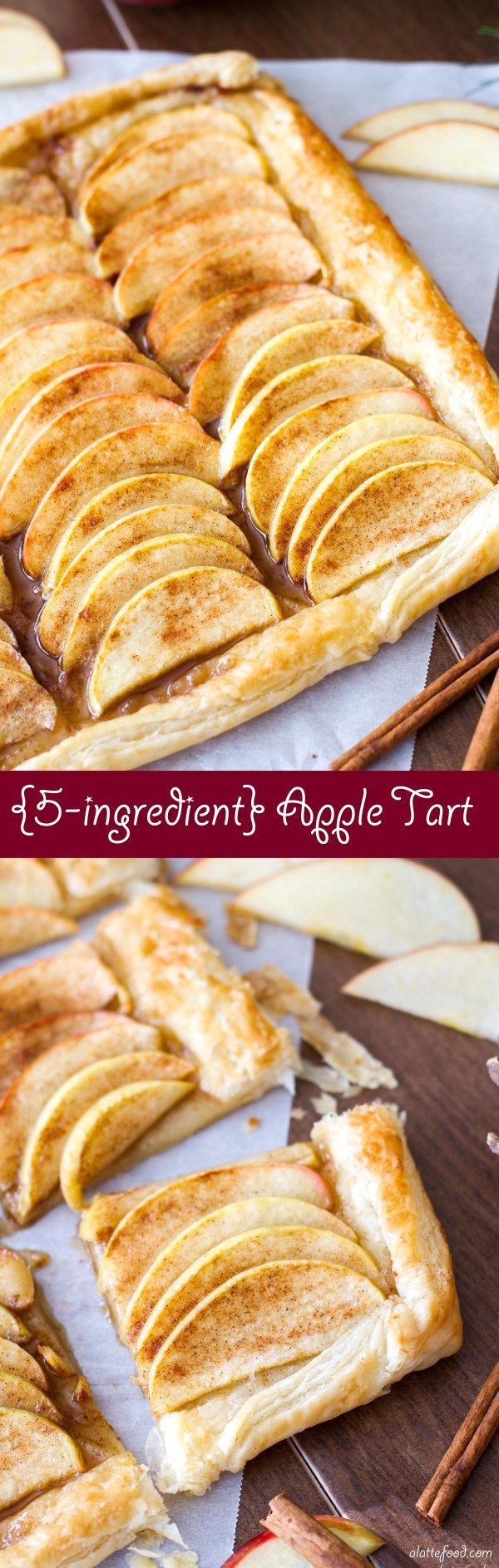 This easy apple tart recipe is made with just 5 ingredients! The perfect fall dessert!