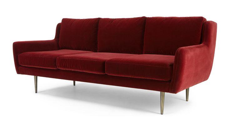 Simone 3 Seater Sofa, Claret Cotton Velvet