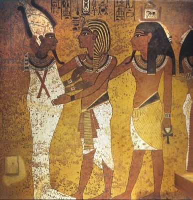 The king with his ka, embracing Osiris from the Tomb of Tutankhamun, New Kingdom (wall painting)