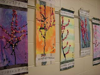 Cherry Blossom Art.Blossoms Scrolls, Cherries Blossoms, Art Lessons, Art Ideas, Grade Cherries, 1St Grades, Art Projects, Art Rooms, Cherry Blossoms
