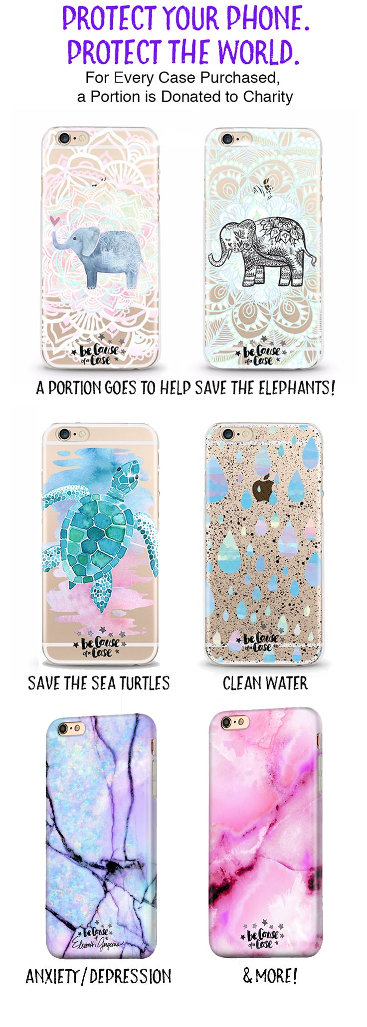 """Because of a Case"" donates to amazing causes with every purchase of a case! Whether you want to help save the sea turtles, provide clean water to those in need, or show your support for mental health, we have many different causes that you can help with every purchase of a case!"
