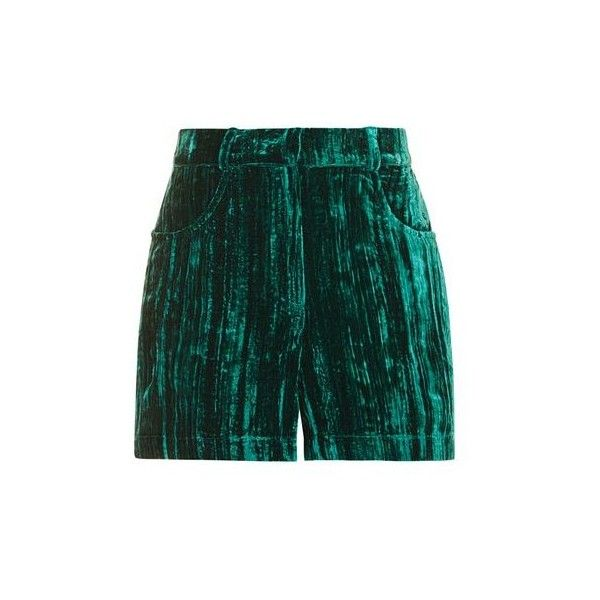 TopShop Velvet High Waisted Shorts (€69) ❤ liked on Polyvore featuring shorts, jade, high rise shorts, topshop shorts, high-rise shorts, highwaist shorts and high-waisted shorts