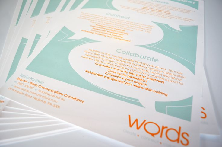 Logo and promotional flyer design for Words Communications, by Designz by Jamz #logo #flyer #design #graphicdesign #branding #creative #corporatebranding #promotions