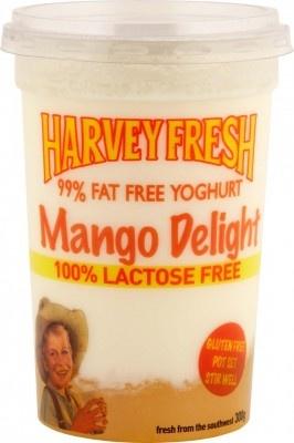 Harvey Fresh Lactose Free, Gluten Free 99% Fat Free Yoghurt Mango Delight 300g  www.harveyfresh.com.au