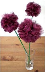 Organza pom poms    http://www.redtedart.com/2010/05/28/how-to-make-fabric-pom-pom-flowers-guest-post/#