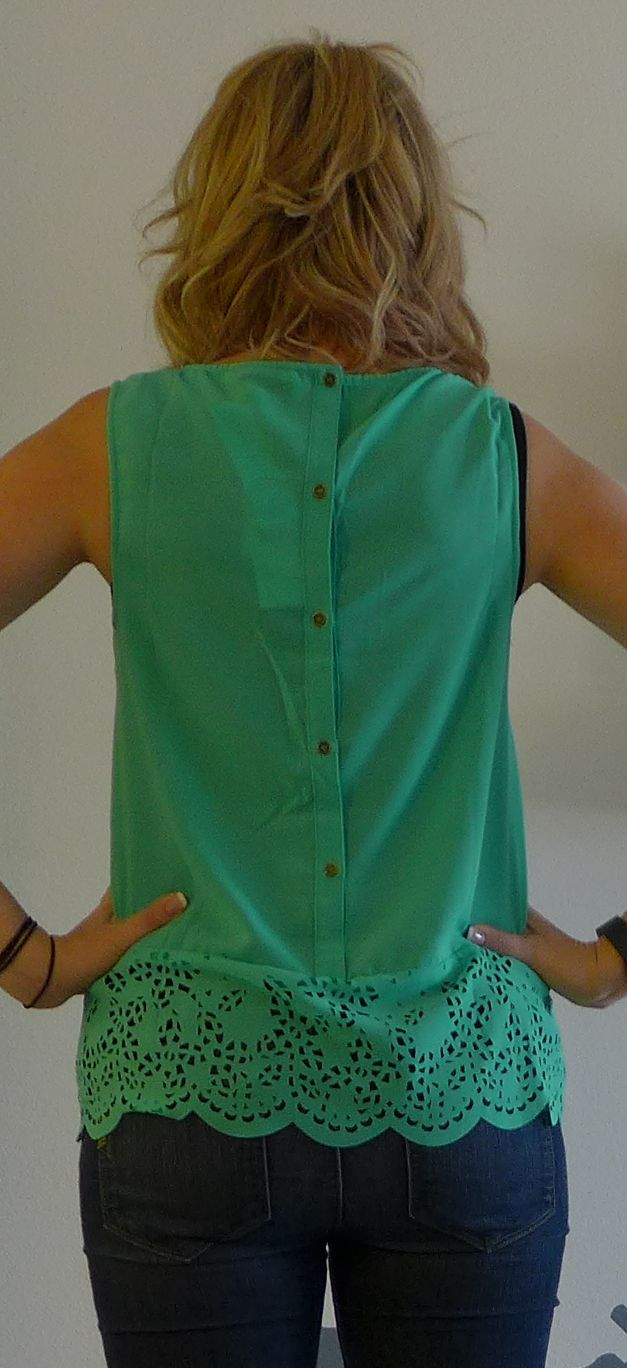 GREAT COLOR AND STYLE. Stitch Fix Under Skies Abbie Pintuck Button-Back Blouse - Monika Wearing Back Buttons - Stitch Fix