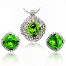 Set bijuterii Safiria cu cristale austriece Stellux culoare Smarald placate cu platina
