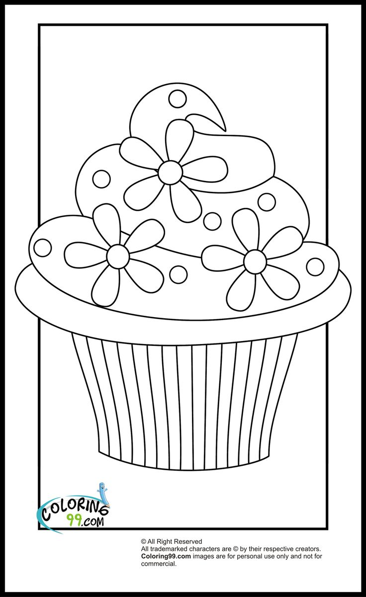 Cupcake Coloring Pages  Cupcake coloring pages, Birthday coloring