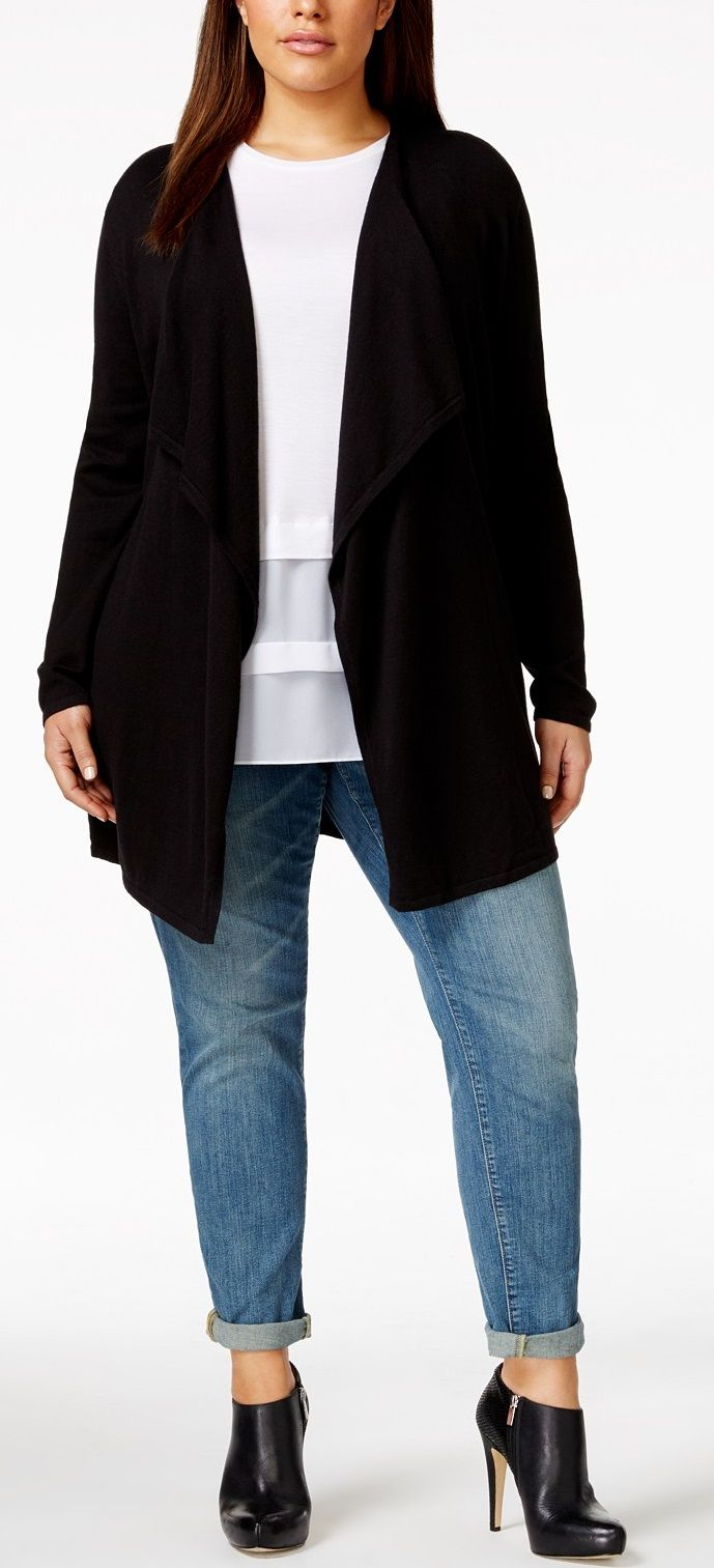 Plus Size Open-Front Waterfall Cardigan #plus #size
