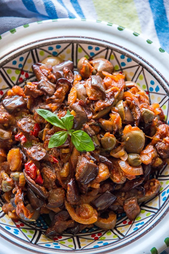 Caponata Sicilian Eggplant Salad Recipe Caponata Recipe Italian Recipes Authentic Eggplant Caponata