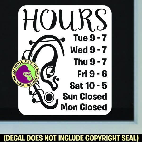 PIERCING STUDIO HOURS - Custom Text - Vinyl Decal Sticker