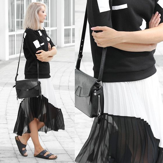 Get this look: http://lb.nu/look/6378334  More looks by Joyce Croonen: http://lb.nu/mydubio  Items in this look:  Ann Sofie Back Top, Zara Skirt, Alexander Wang Bag, Birkenstock Sandals   #pleats #pleatedskirt #birkenstock #minimal #monochrome